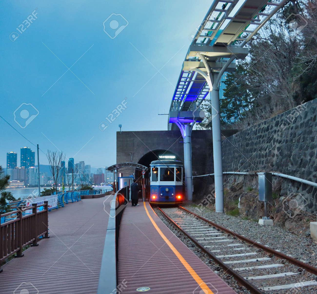 Scenery of Haeundae Beach Train, Busan, South Korea, Asia. - 166088469