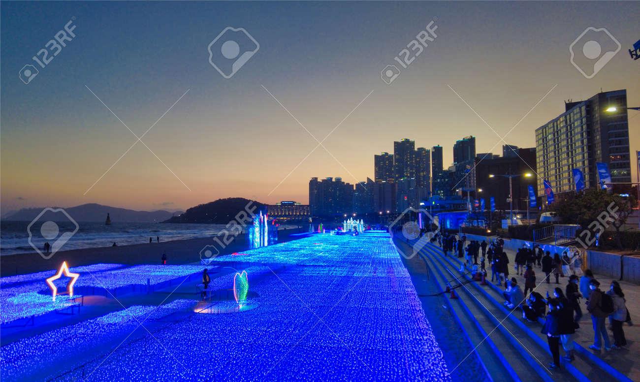 Light Festival in haeundae, Busan, South Korea, Asia. - 166952296