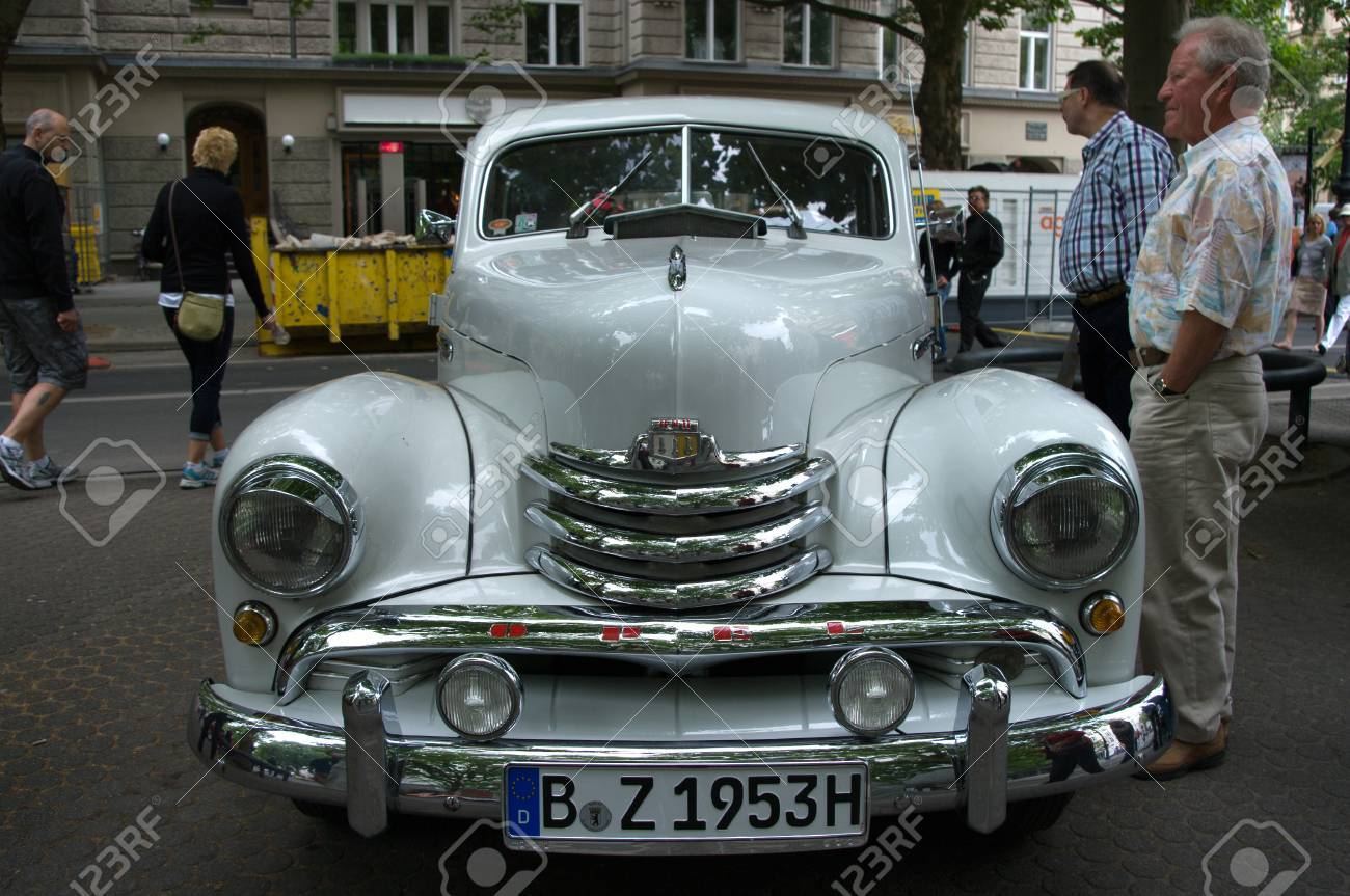 Cars Opel Kapitan In 1951, The Exhibition 125 Car History -.. Stock ...