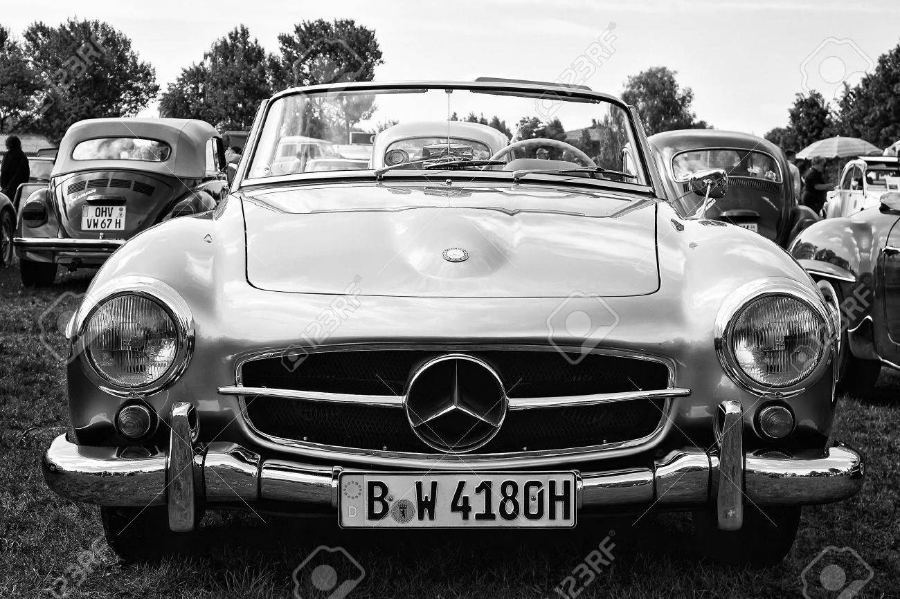 PAAREN IM GLIEN, GERMANY - MAY 19 Car Mercedes-Benz 190SL black and white , The oldtimer show in MAFZ, May 19, 2013 in Paaren im Glien, Germany - 27694160