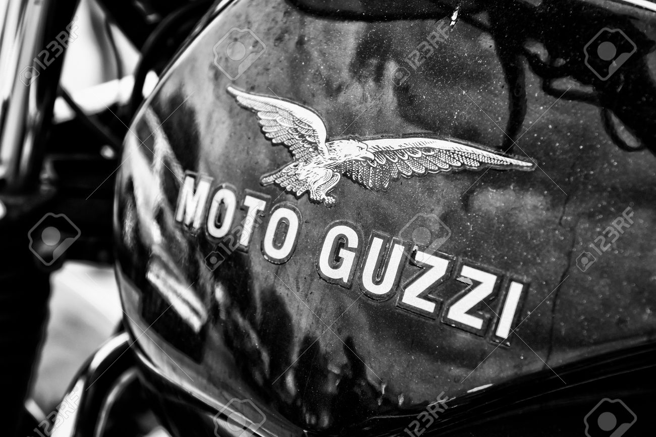 BERLIN - MAY 11 Fuel tank Italian motorcycle Moto Guzzi, black and white , 26th Oldtimer-Tage Berlin-Brandenburg, May 11, 2013 Berlin, Germany - 27732047