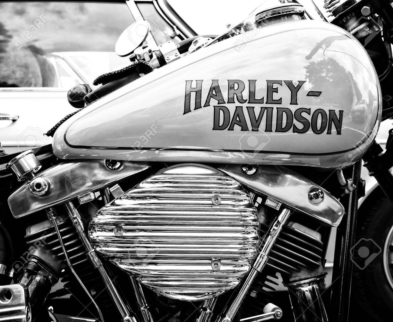 BERLIN - MAY 11: Detail of the motorcycle Harley-Davidson (Black and White), 26th Oldtimer-Tage Berlin-Brandenburg, May 11, 2013 Berlin, Germany - 27731870