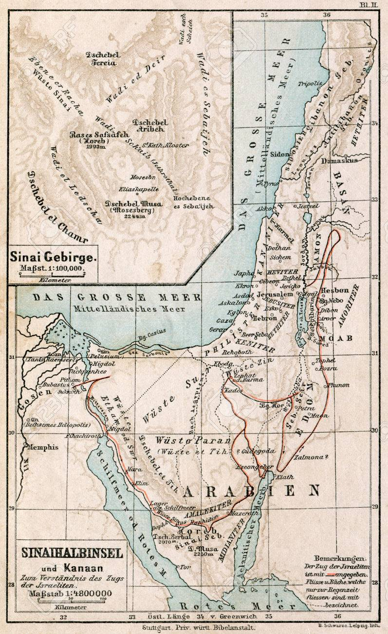Map Of Sinai Peninsula The Route Of Exodus Of Jews From Egypt ...
