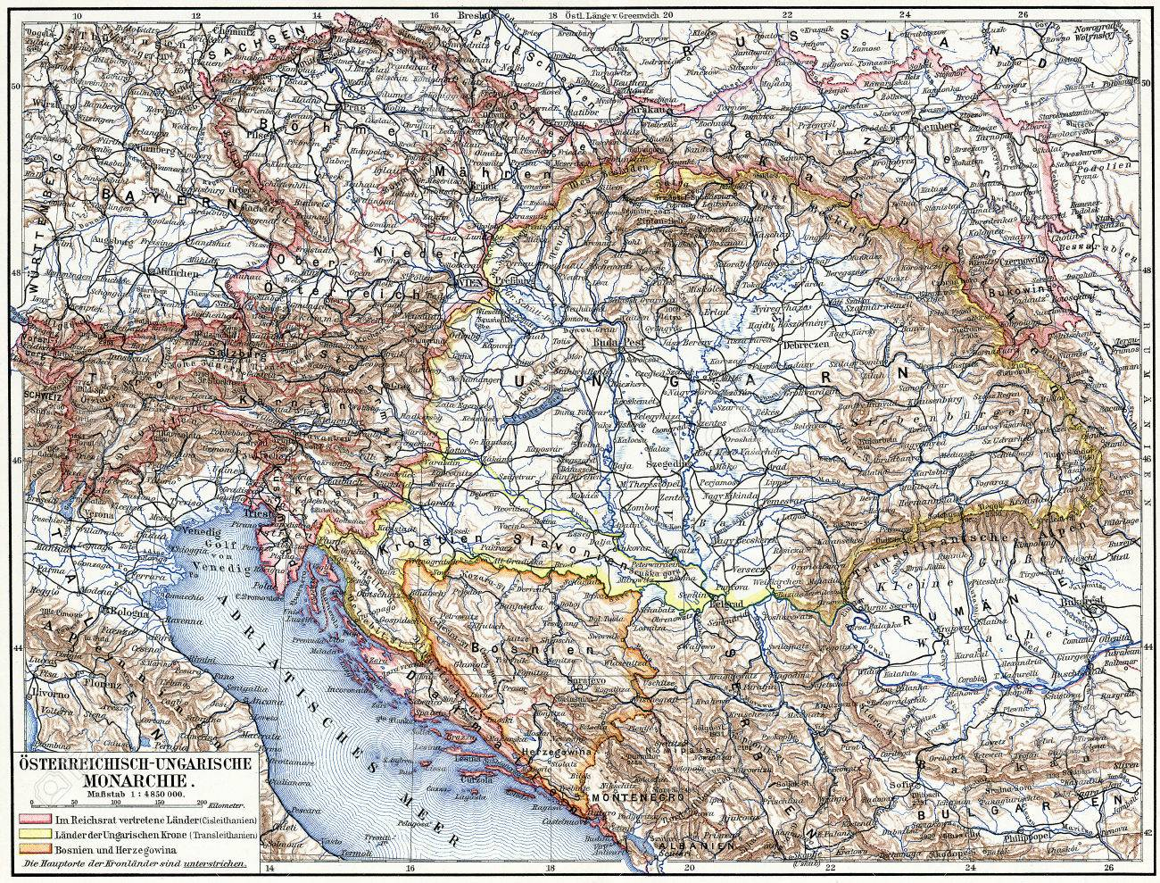 Map of Austro-Hungarian monarchy Publication of the book Meyers Konversations-Lexikon , Volume 7, Leipzig, Germany, 1910 - 28164888