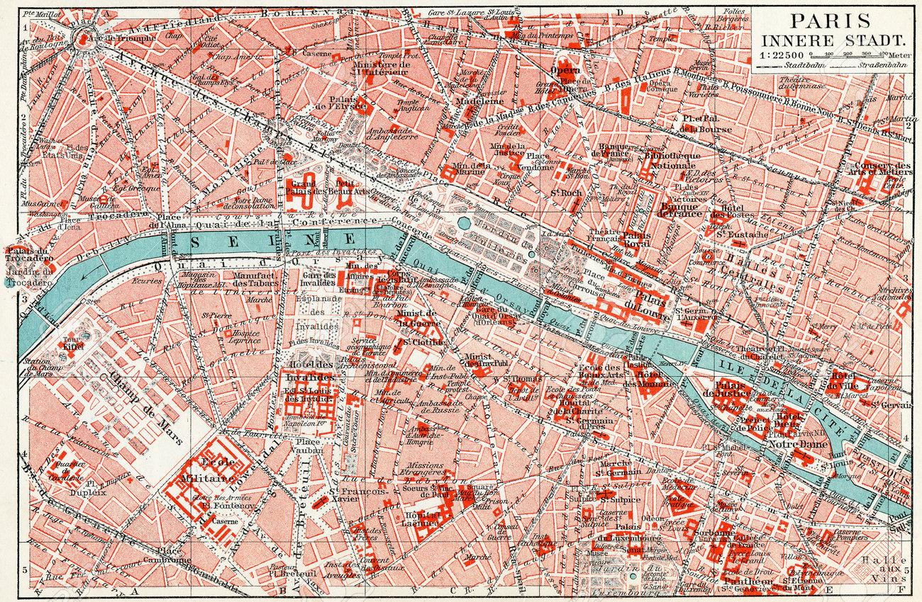 Map of central Paris Publication of the book Meyers Konversations-Lexikon , Volume 7, Leipzig, Germany, 1910 - 28164892