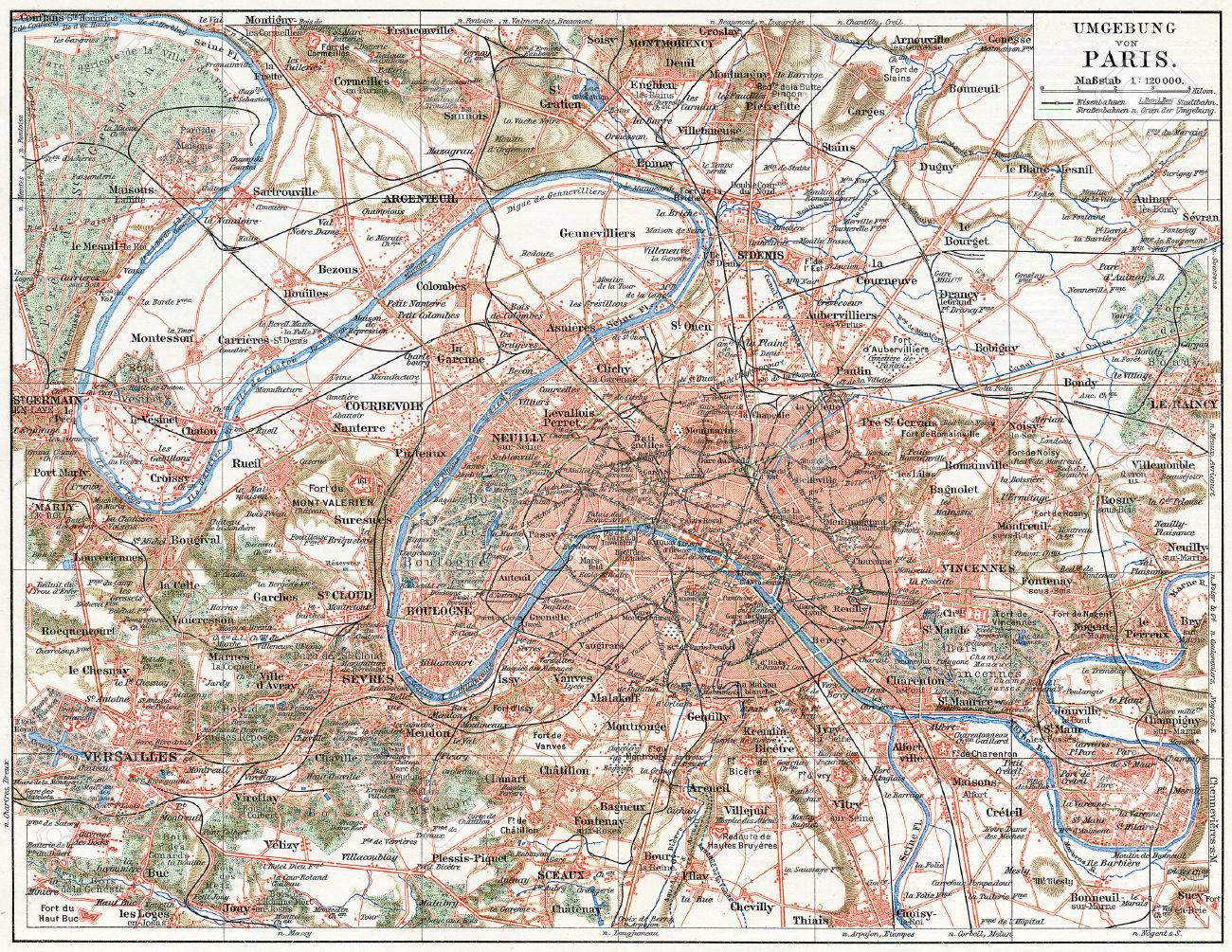 map of paris and the suburbs publication of the book meyers konversations lexik on