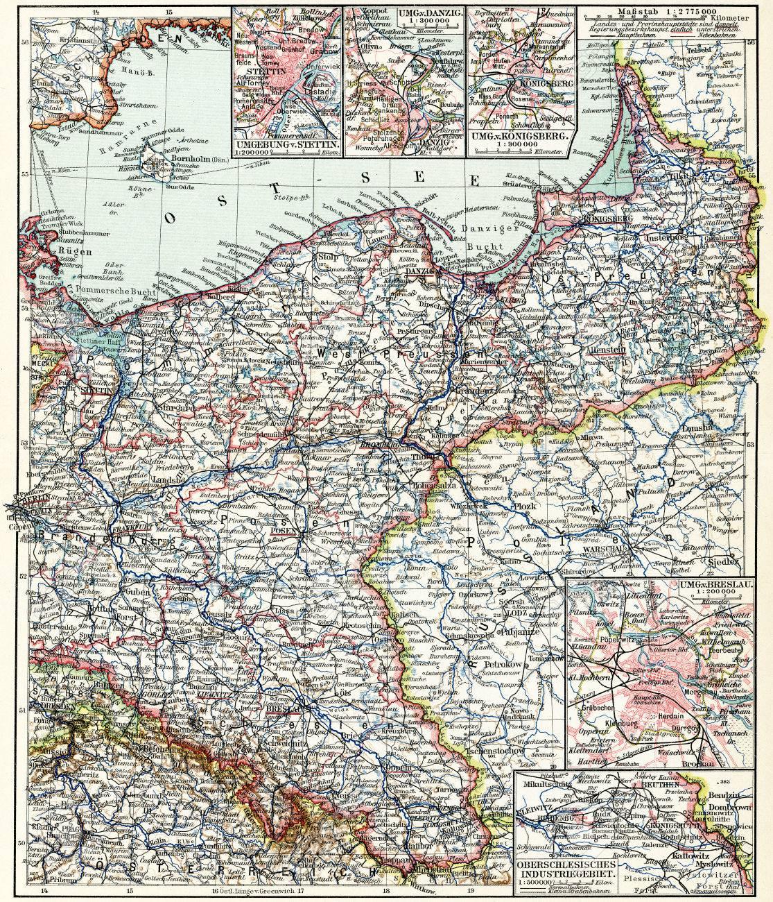 Map Of The North East Germany Publication Of The Book Meyers Stock