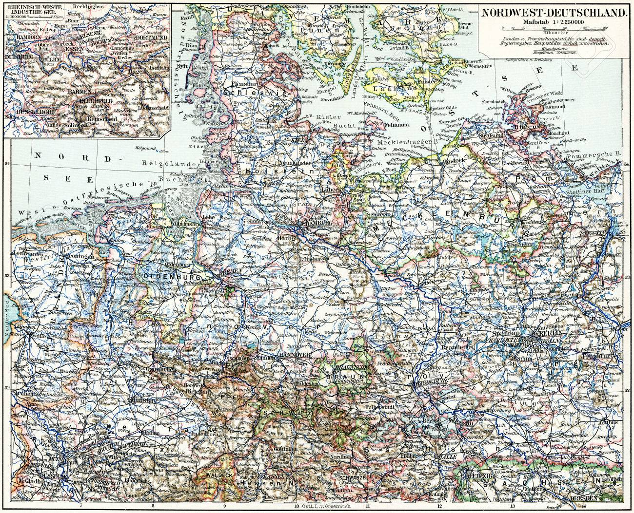 Map Of North West Germany.Map Of The North West Germany Publication Of The Book Meyers