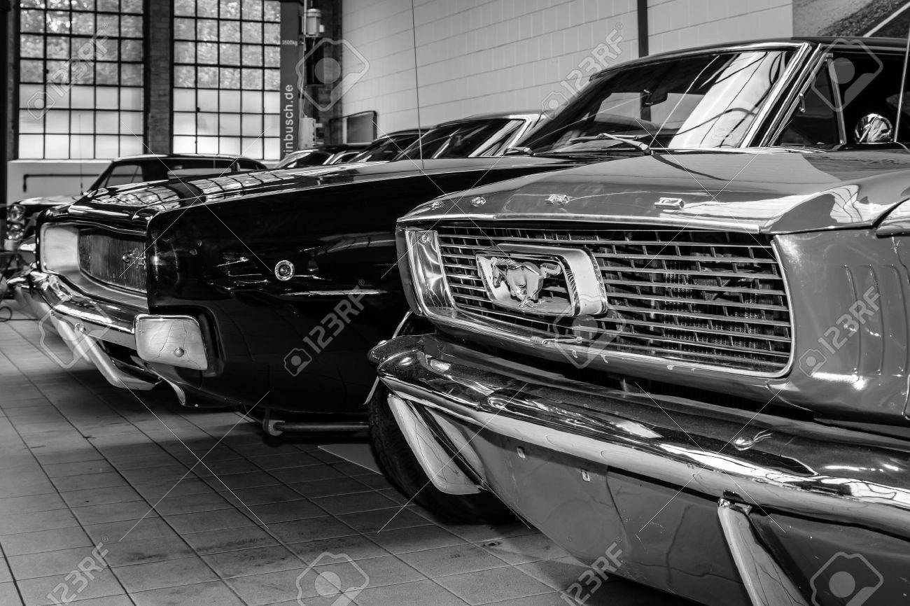 BERLIN, GERMANY - MAY 17, 2014: Ford Mustang and Dodge Charger. Black and white. 27th Oldtimer Day Berlin - Brandenburg - 29249267