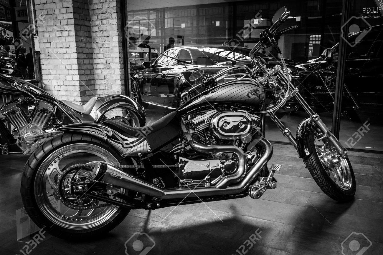 BERLIN, GERMANY - MAY 17, 2014: Motocycle Harley-Davidson Custom Bike, closeup. Black and white. 27th Oldtimer Day Berlin - Brandenburg - 29249248