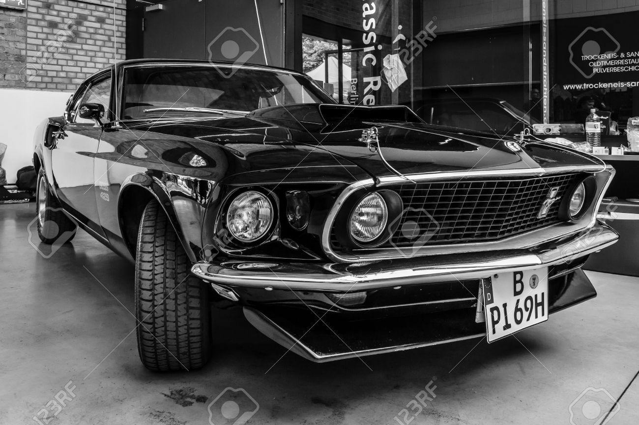BERLIN, GERMANY - MAY 17, 2014: Muscle car Ford Mustang Boss 429 Fastback (1969). Black and white. 27th Oldtimer Day Berlin - Brandenburg - 29249045