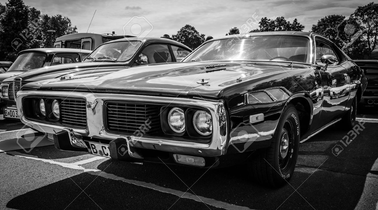 BERLIN, GERMANY - MAY 17, 2014: Mid-size car Dodge Charger (Third generation) with engine 440 Magnum. Black and white. 27th Oldtimer Day Berlin - Brandenburg - 30037701