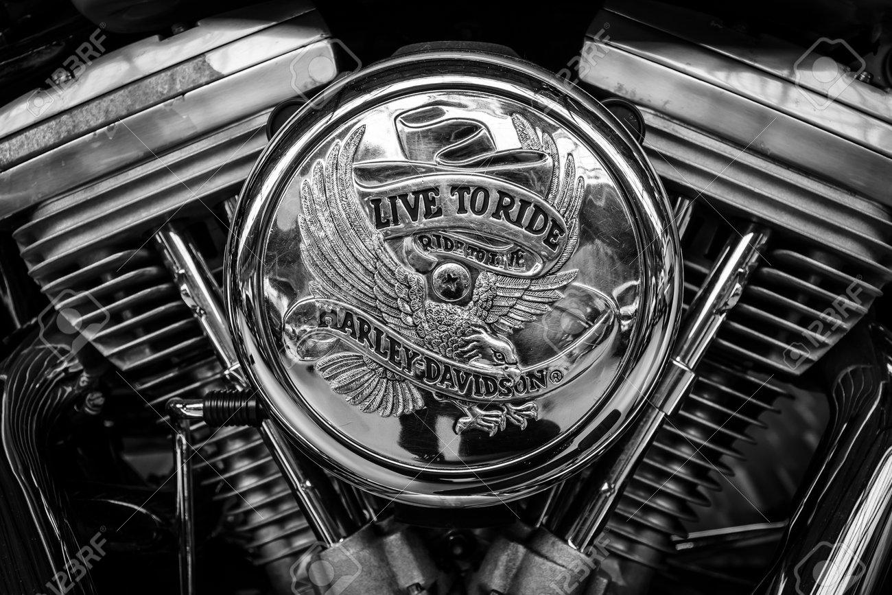 BERLIN, GERMANY - MAY 17, 2014: Detail of motorcycle Harley-Davidson. Black and white. 27th Oldtimer Day Berlin - Brandenburg - 30037722