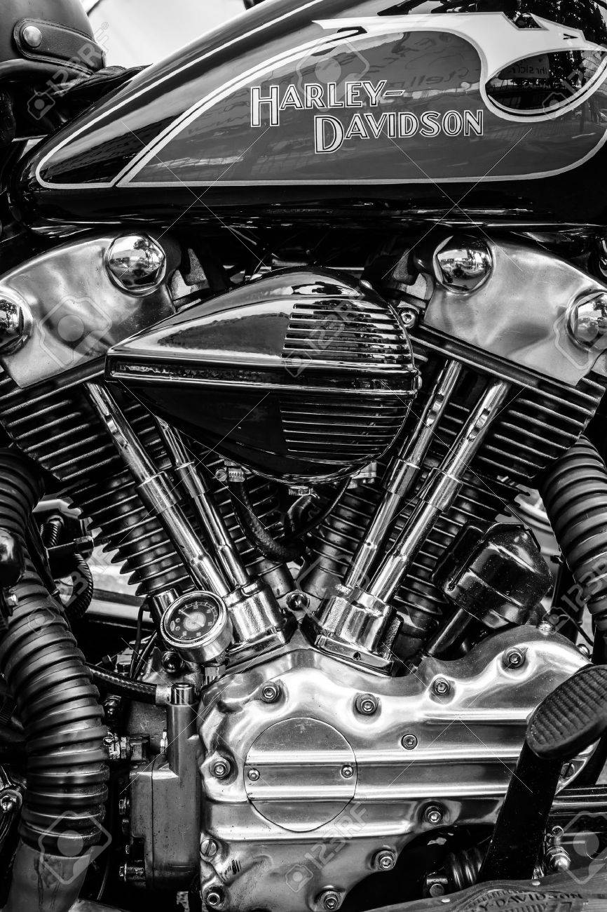 BERLIN, GERMANY - MAY 17, 2014: Twin Cam engine of the motorcycle Harley-Davidson. Black and white. 27th Oldtimer Day Berlin - Brandenburg - 30037146