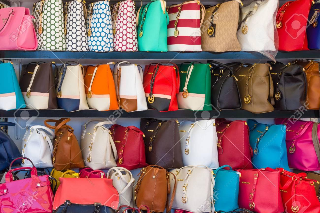 3887692d0dd AVSALLAR, TURKEY - JUNE 20, 2014: Showcase with fake handbags of famous  American