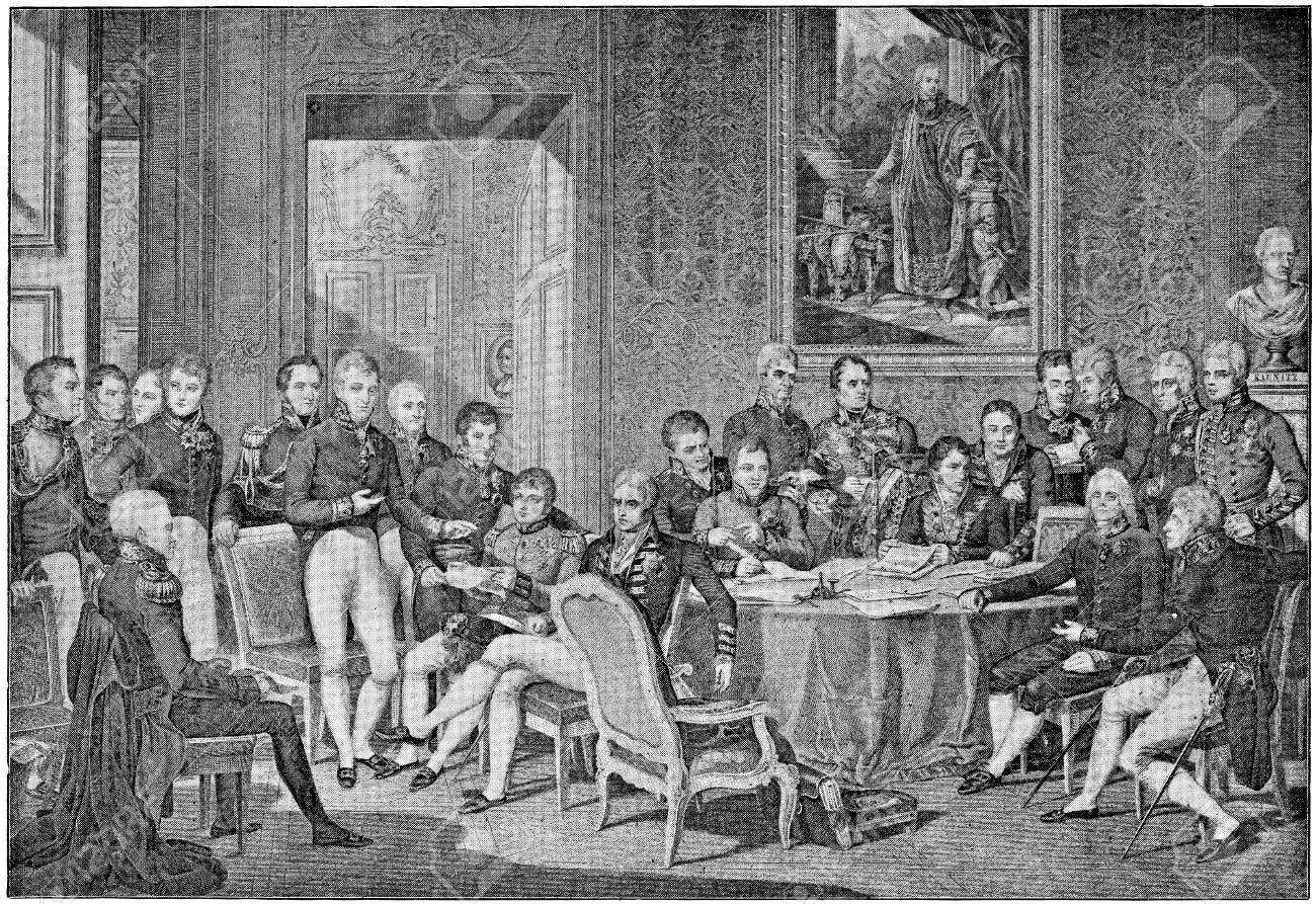 """Congress of Vienna in 1814 by engraving Jean Godefroy on drawing Jean-Baptiste Isabey. Publication of the book """"A Century in the text and pictures"""", Berlin, Germany, 1899 - 32910422"""