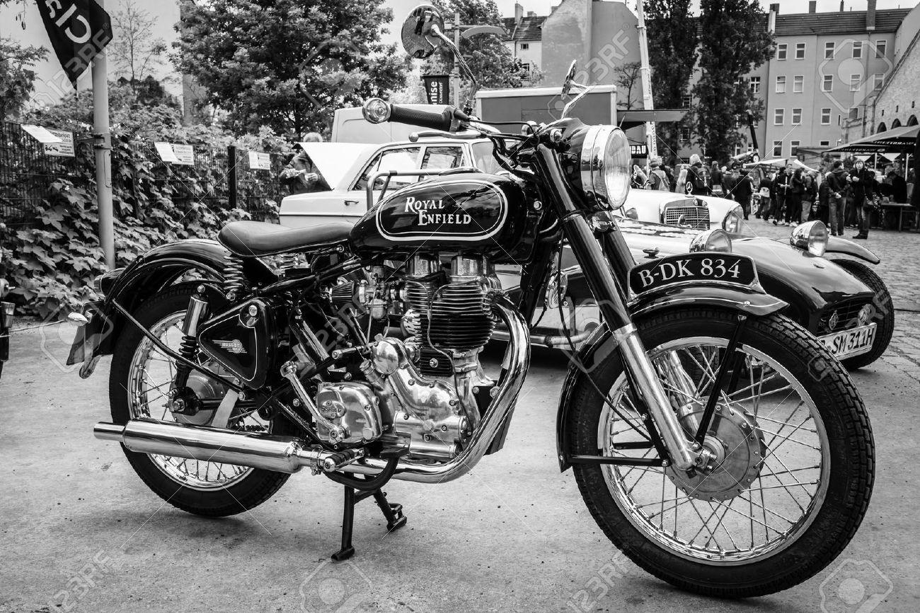 Berlin May 10 2015 Motorbike Royal Enfield Bullet 500 Classic