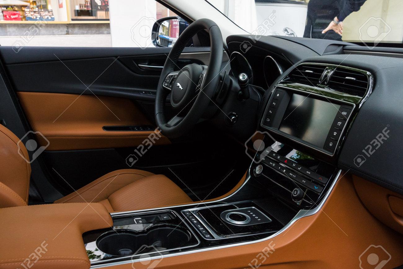 BERLIN - JUNE 14, 2015: Cabin of the compact executive car Jaguar XE 20D (since 2015). The Classic Days on Kurfuerstendamm. - 42902426