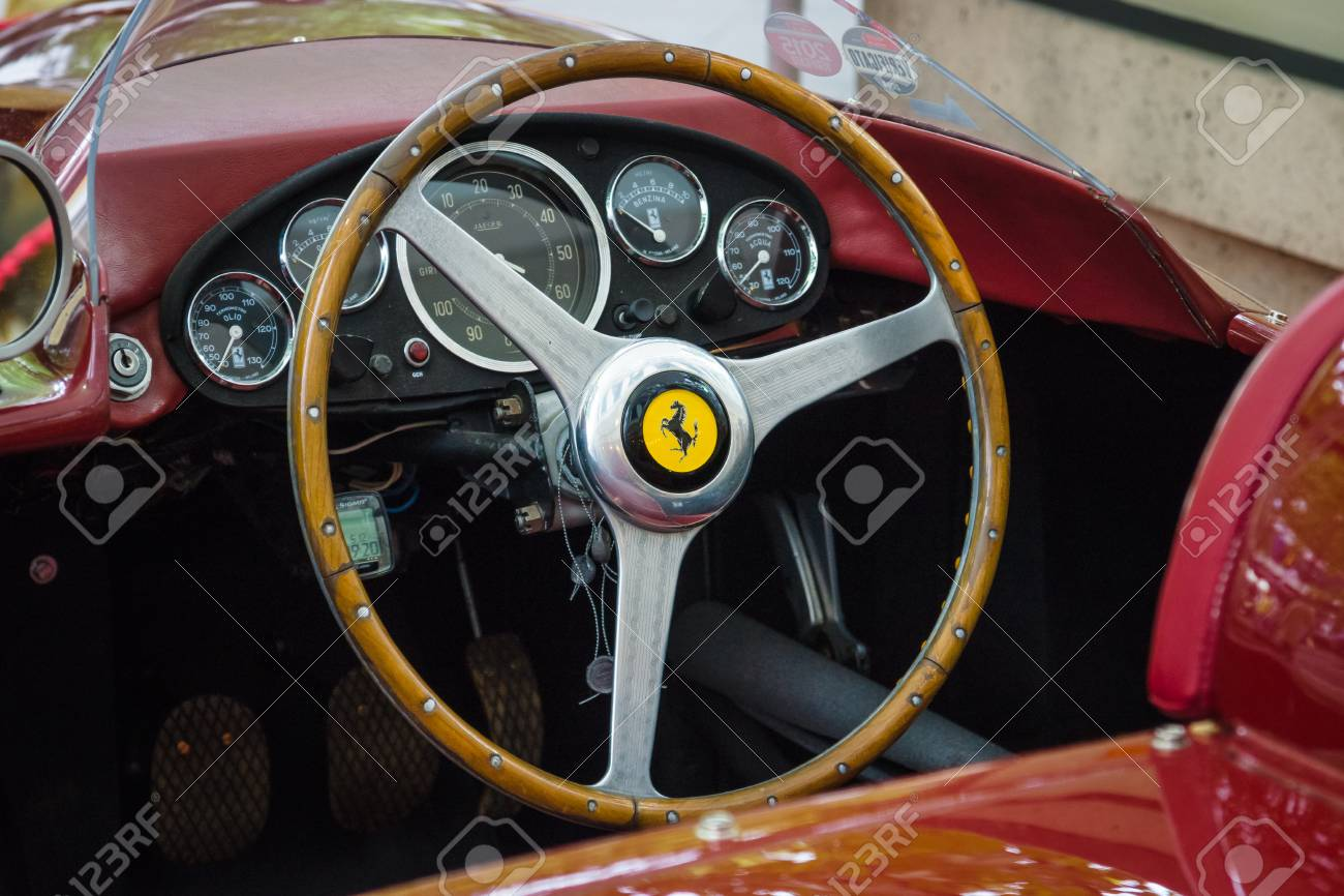 BERLIN - JUNE 14, 2015: Cockpit of a sports car Ferrari 500 TR, 1956. The Classic Days on Kurfuerstendamm. - 42902473
