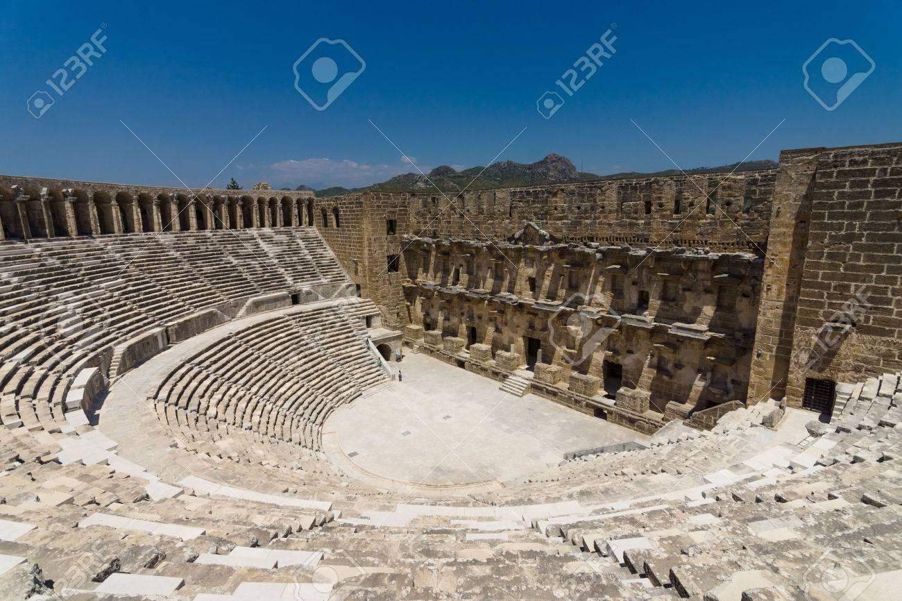 The Roman ancient theater in Aspendos. The province of Antalya. Mediterranean coast of Turkey. - 48372858
