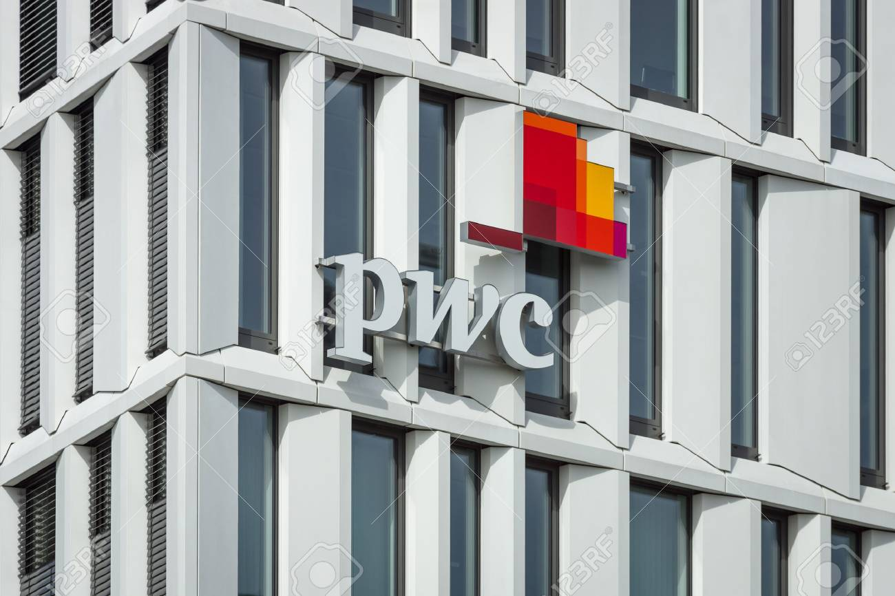 BERLIN - APRIL 03, 2016: The logo of PricewaterhouseCoopers. PwC is the international network of companies offering professional services in the field of consulting and auditing. - 54546177