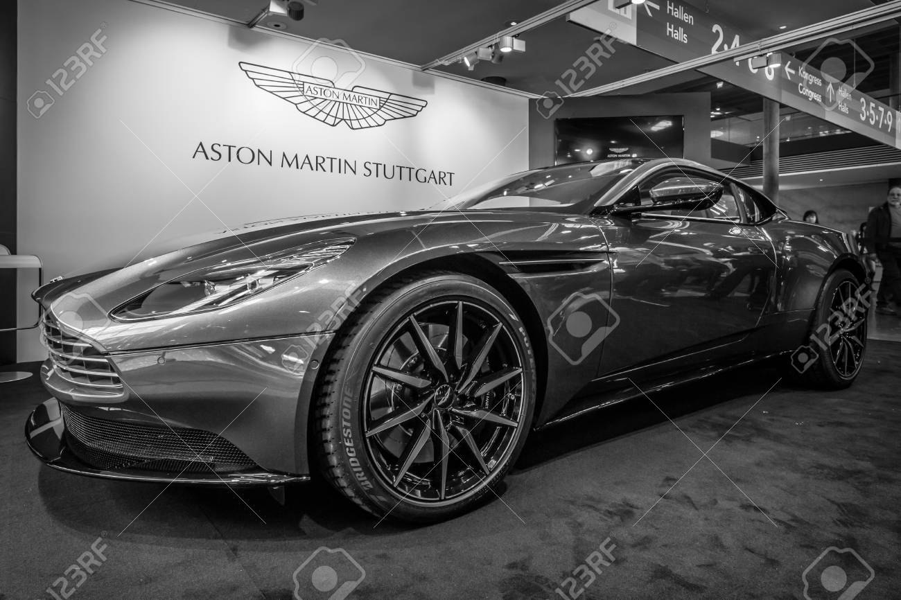 """STUTTGART, GERMANY - MARCH 18, 2016: Grand tourer coupe Aston Martin DB10, 2016. Black and white. Europe's greatest classic car exhibition """"RETRO CLASSICS"""" - 55692910"""