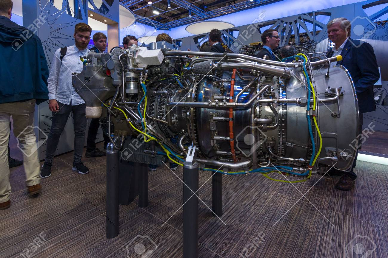BERLIN, GERMANY - JUNE 01, 2016: The stand of MTU Aero Engines AG, is a German aircraft engine manufacturer. Exhibition ILA Berlin Air Show 2016. - 58701209