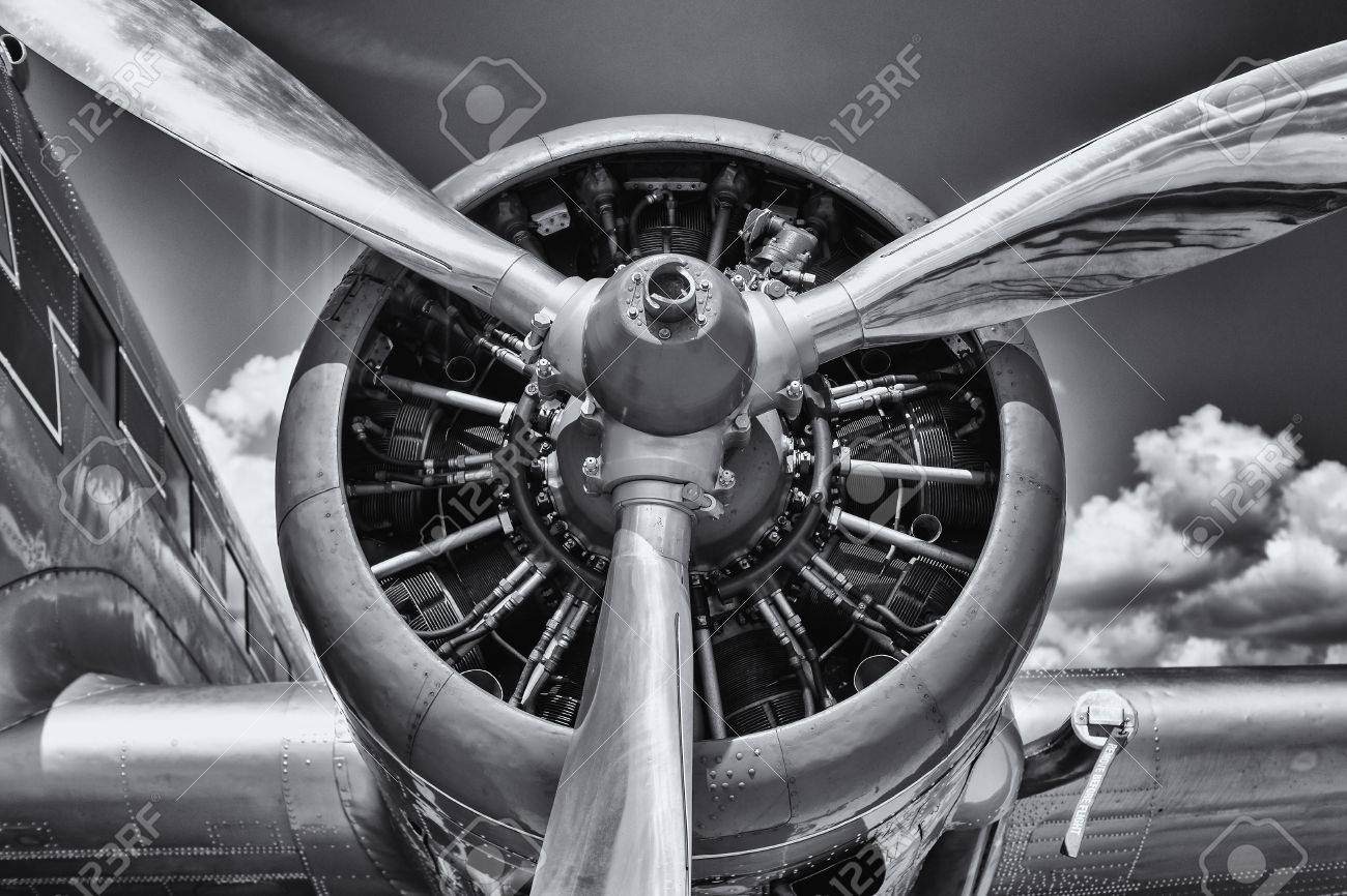 Radial engine of an aircraft. Close-up. Black and white. - 64300309