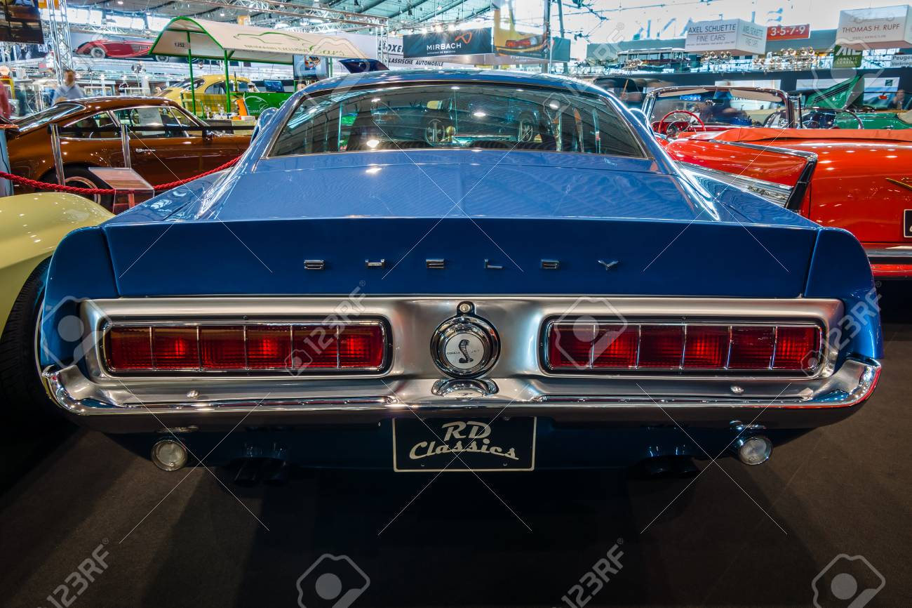 Stock photo stuttgart germany march 02 2017 muscle car ford mustang shelby gt500kr 1968 rear view europes greatest classic car exhibition retro