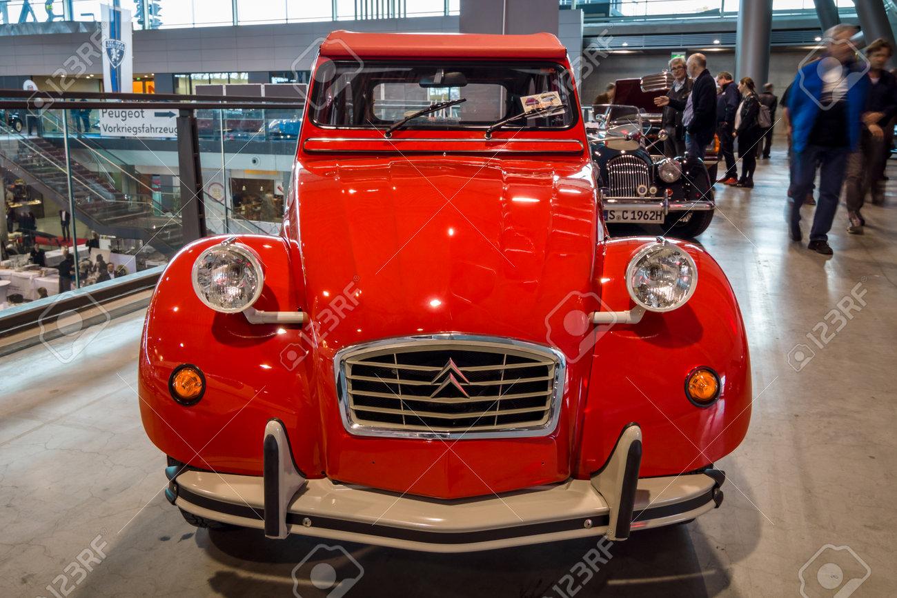 "STUTTGART, GERMANY - MARCH 02, 2017: Economy car Citroen 2CV. Europe's greatest classic car exhibition ""RETRO CLASSICS"" - 73982962"