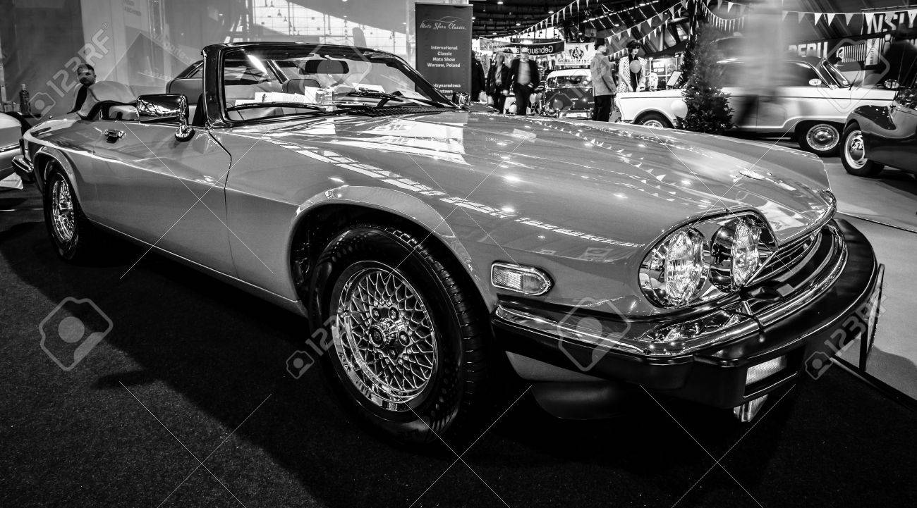 74599355 Stuttgart Germany March 02 2017 Luxury Grand Tourer Car Jaguar  Xj S V12 1990 Black And White Europe