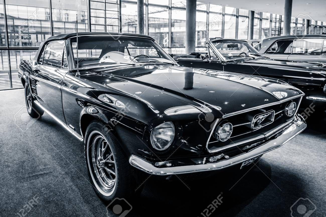Stock photo stuttgart germany march 03 2017 pony car ford mustang convertible 1967 black and white europes greatest classic car exhibition retro