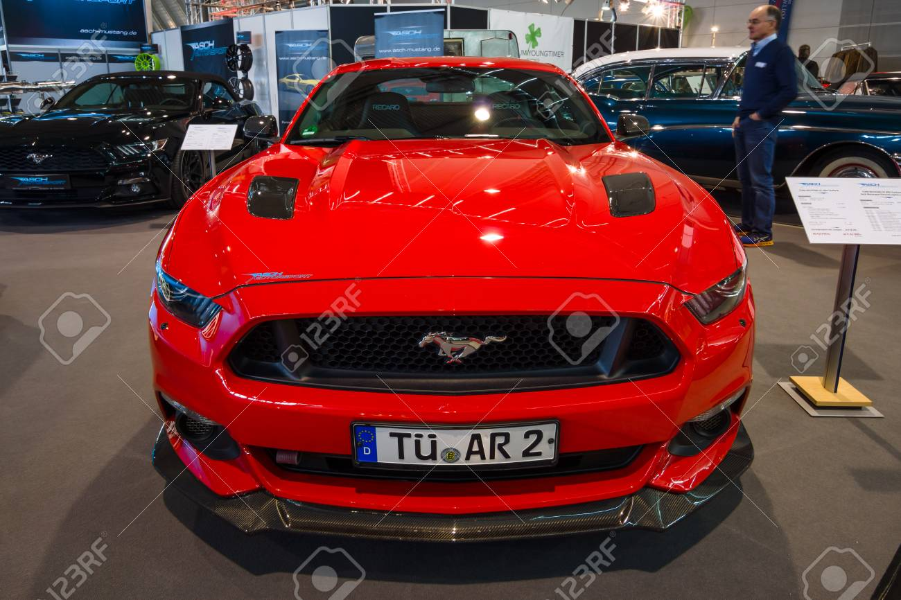 Stock photo stuttgart germany march 03 2017 pony car ford mustang gt am1 fastback coupe 2016 europes greatest classic car exhibition retro