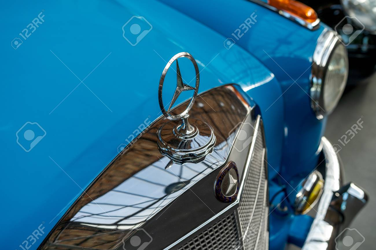 Berlin May 06 2018 Hood Ornament Of Luxury Car Mercedes Benz