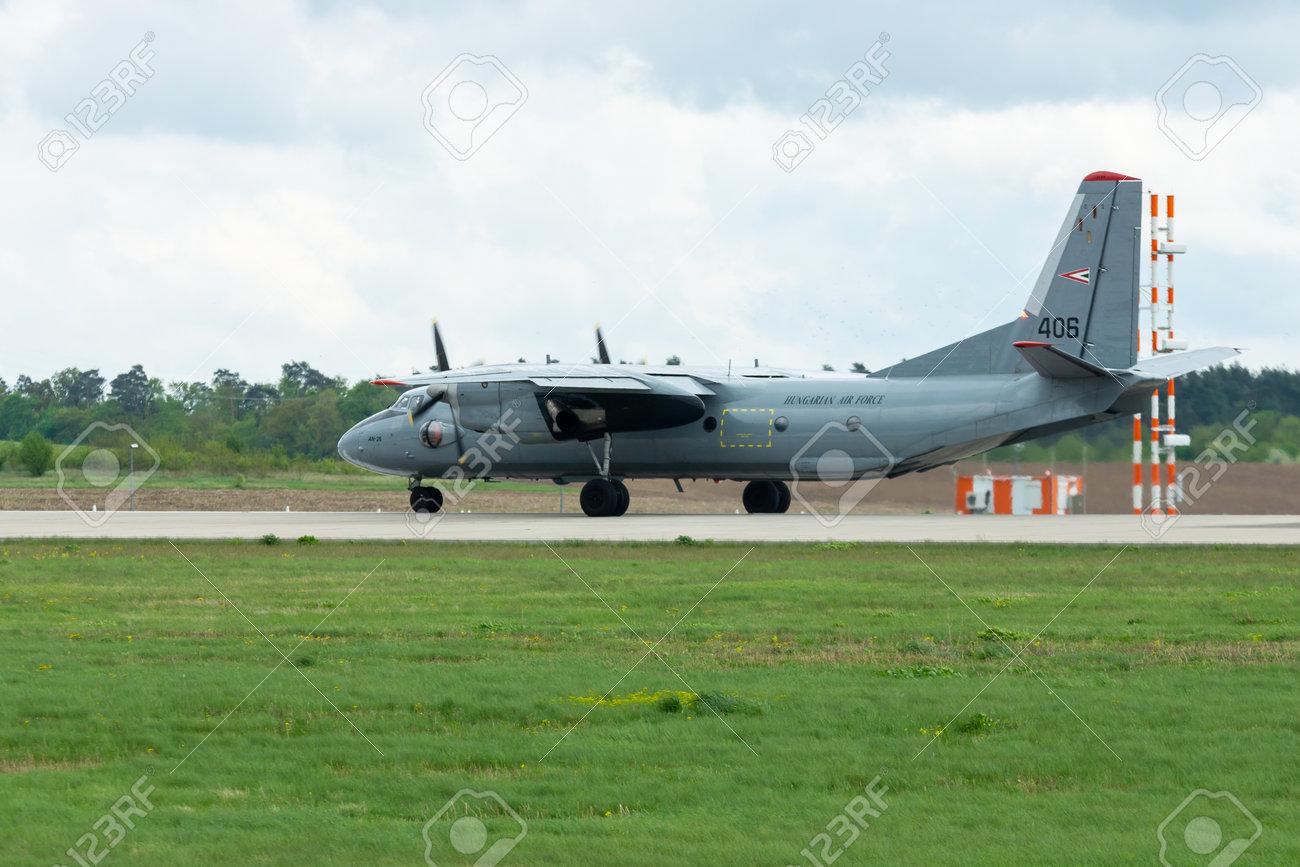 BERLIN - APRIL 26, 2018: Transport aircraft Antonov An-26  Hungarian