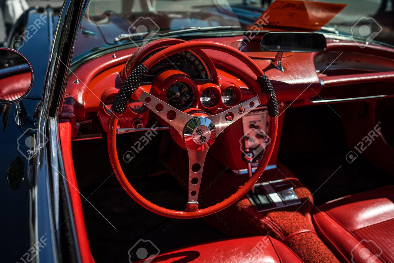 Berlin May 06 2018 Interior Of The Sports Car Chevrolet Corvette