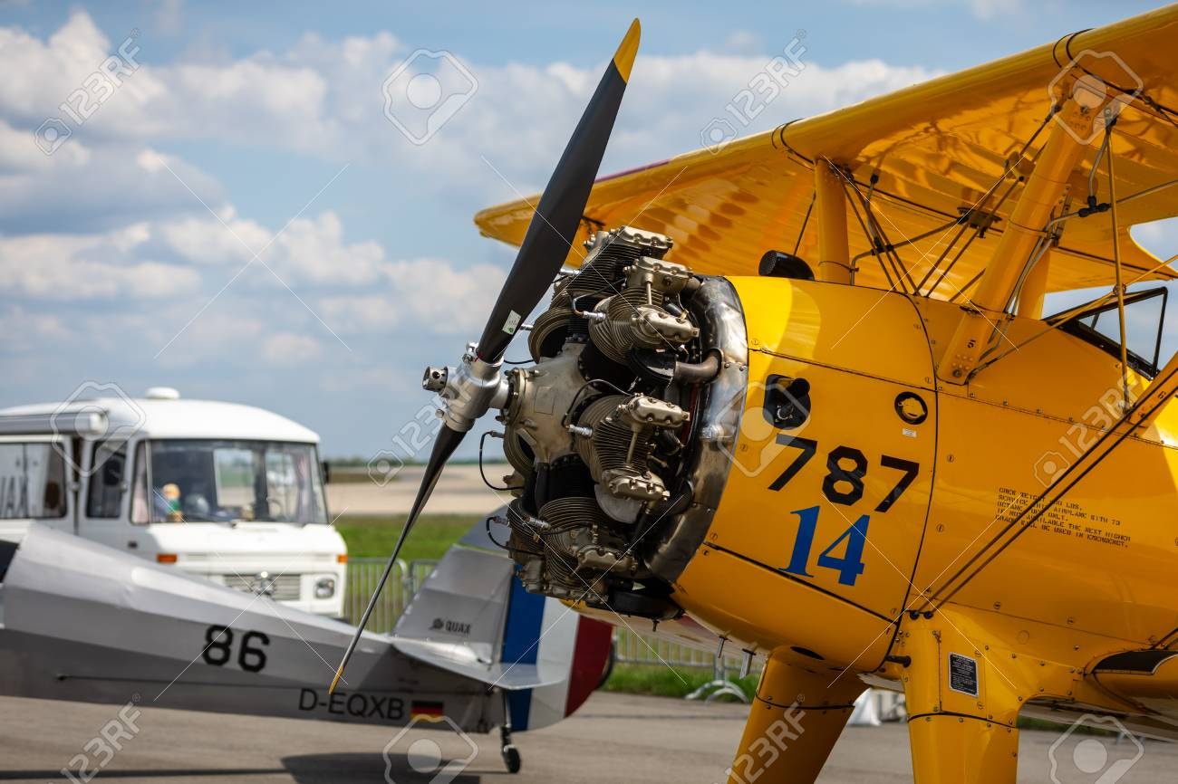 BERLIN - APRIL 27, 2018: Radial engine of the biplane trainer