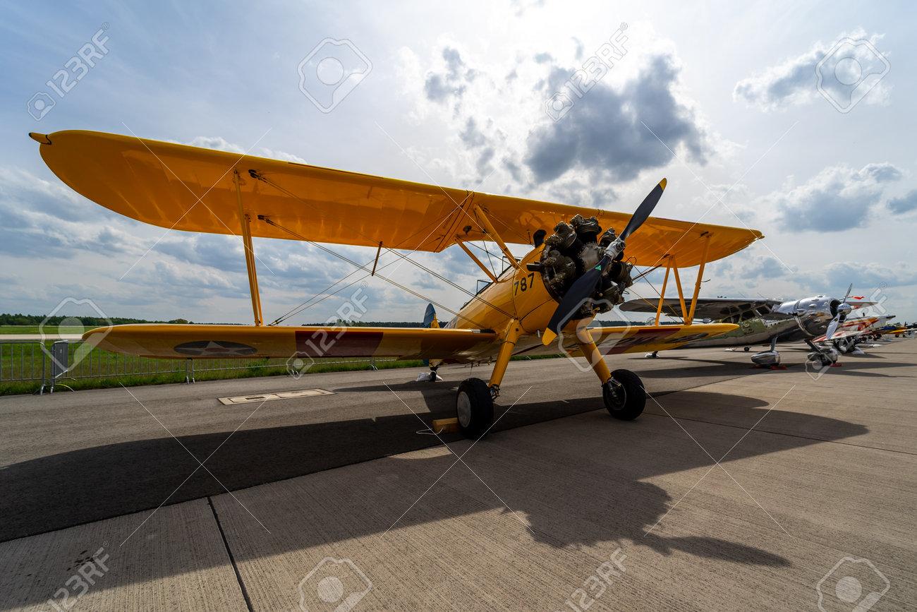 BERLIN - APRIL 27, 2018: The biplane trainer Boeing-Stearman