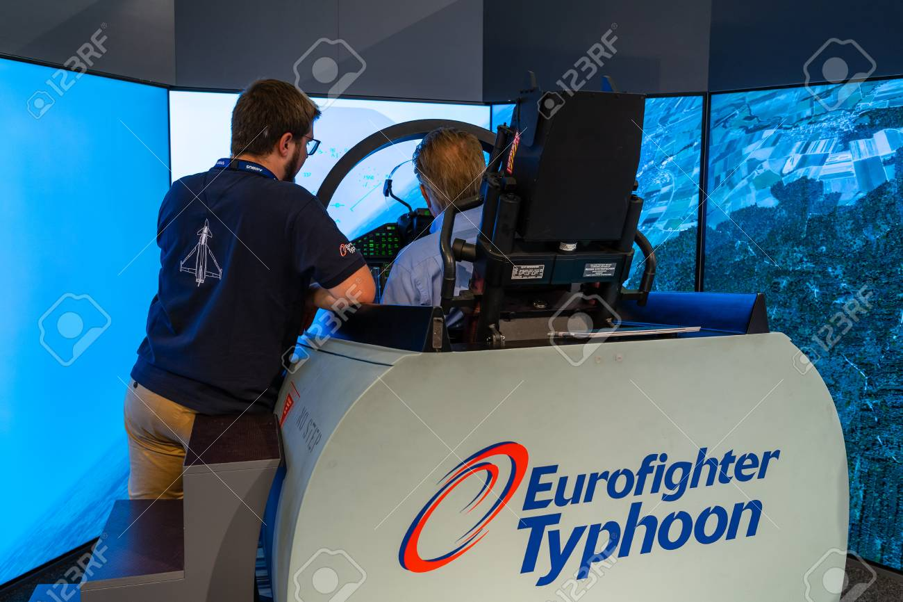 BERLIN - APRIL 27, 2018: Cockpit of multirole fighter Eurofighter
