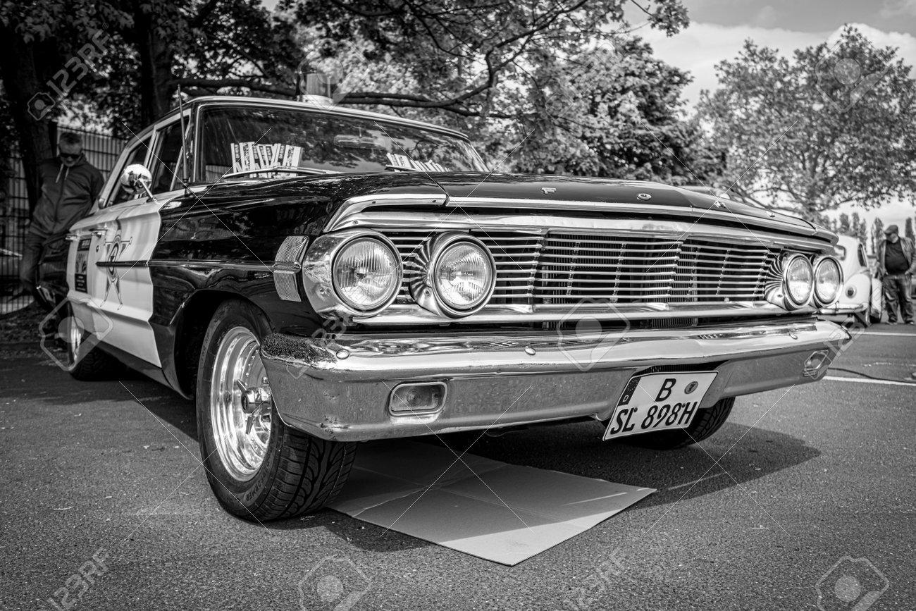 BERLIN - MAY 11, 2019: Police car Ford Galaxie 500 Interceptor, 1964. Black and white. 32th Berlin-Brandenburg Oldtimer Day. - 124337526