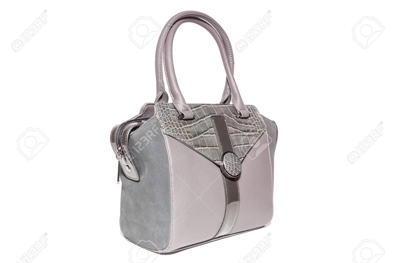Women S Leather Handbag Pink Colour Studio Isolated Stock Photo