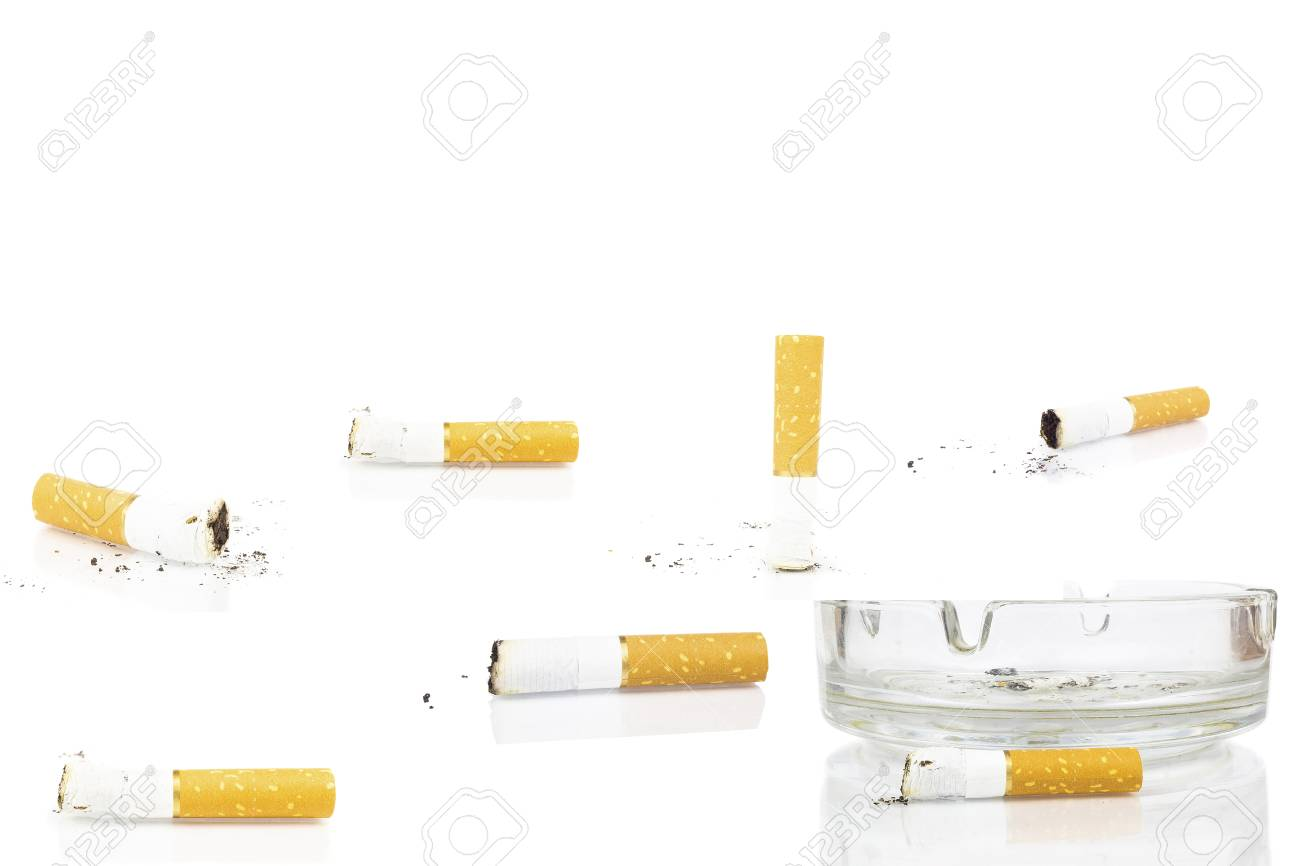 cigarette butt in ashtray on white background, isolated - 115064410