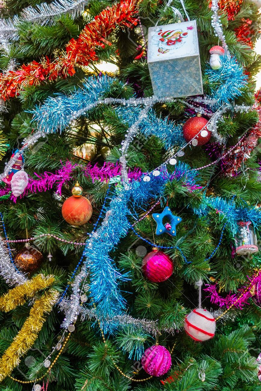 Decorated Christmas Trees Close Up Red And Gold Balls And Lights Stock Photo Picture And Royalty Free Image Image 137693071