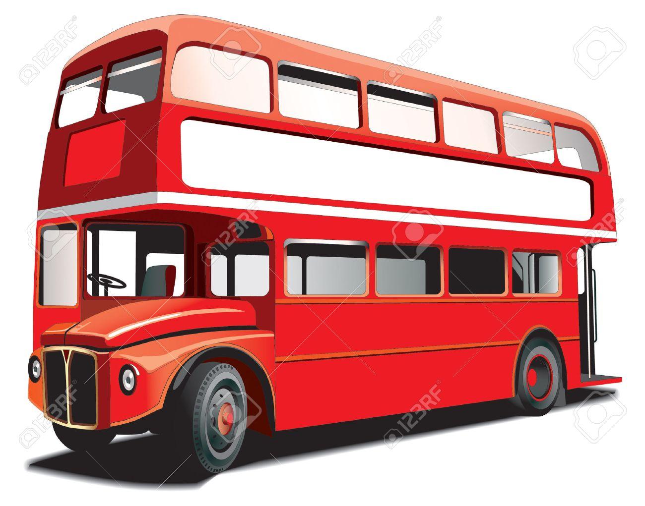 Autobús De Dos Pisos De Londres Aislados En Blanco Con Marco Blanco ...