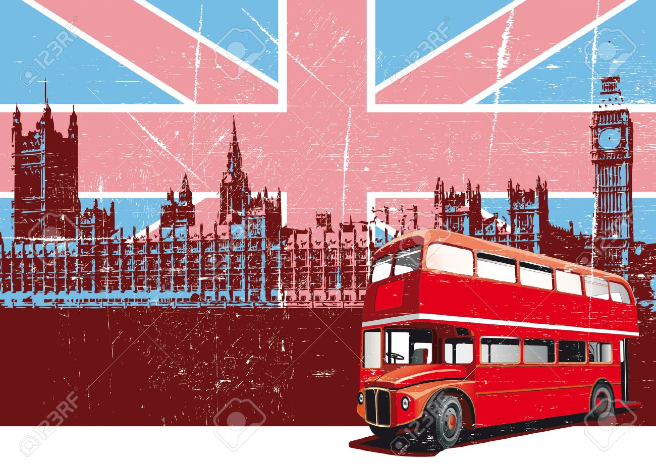 Grunge background with image of double decker bus and Houses Of Parliament on background English symbolism Stock Vector - 5747990