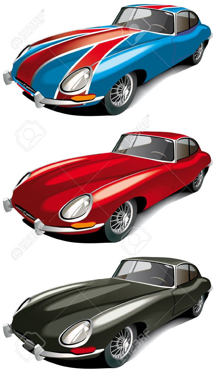Vectorial icon set of retro English sport car (Jaguer E-type 1965 year) isolated on white backgrounds. Every car is in separate layers. File contains gradients and blends. Stock Vector - 6209234
