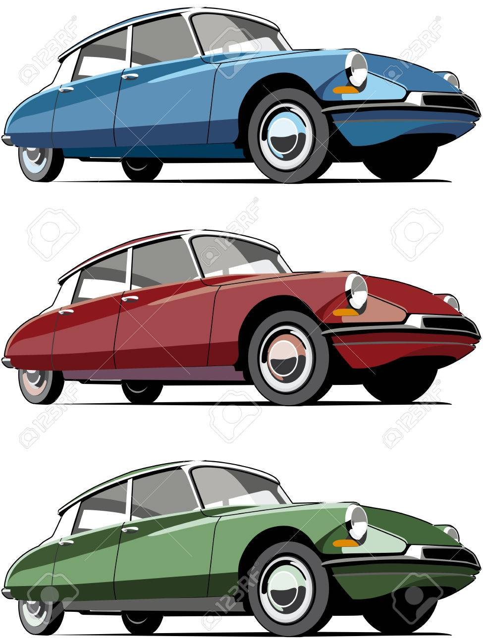 Old Fashioned Cars >> Vectorial Icon Set Of Old Fashioned French Cars Isolated On White