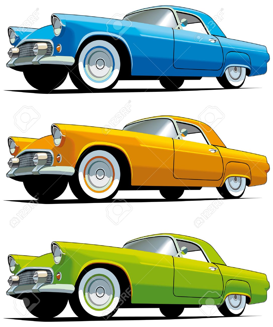 Vectorial Icon Set Of American Old-fashioned Cars Isolated On ...