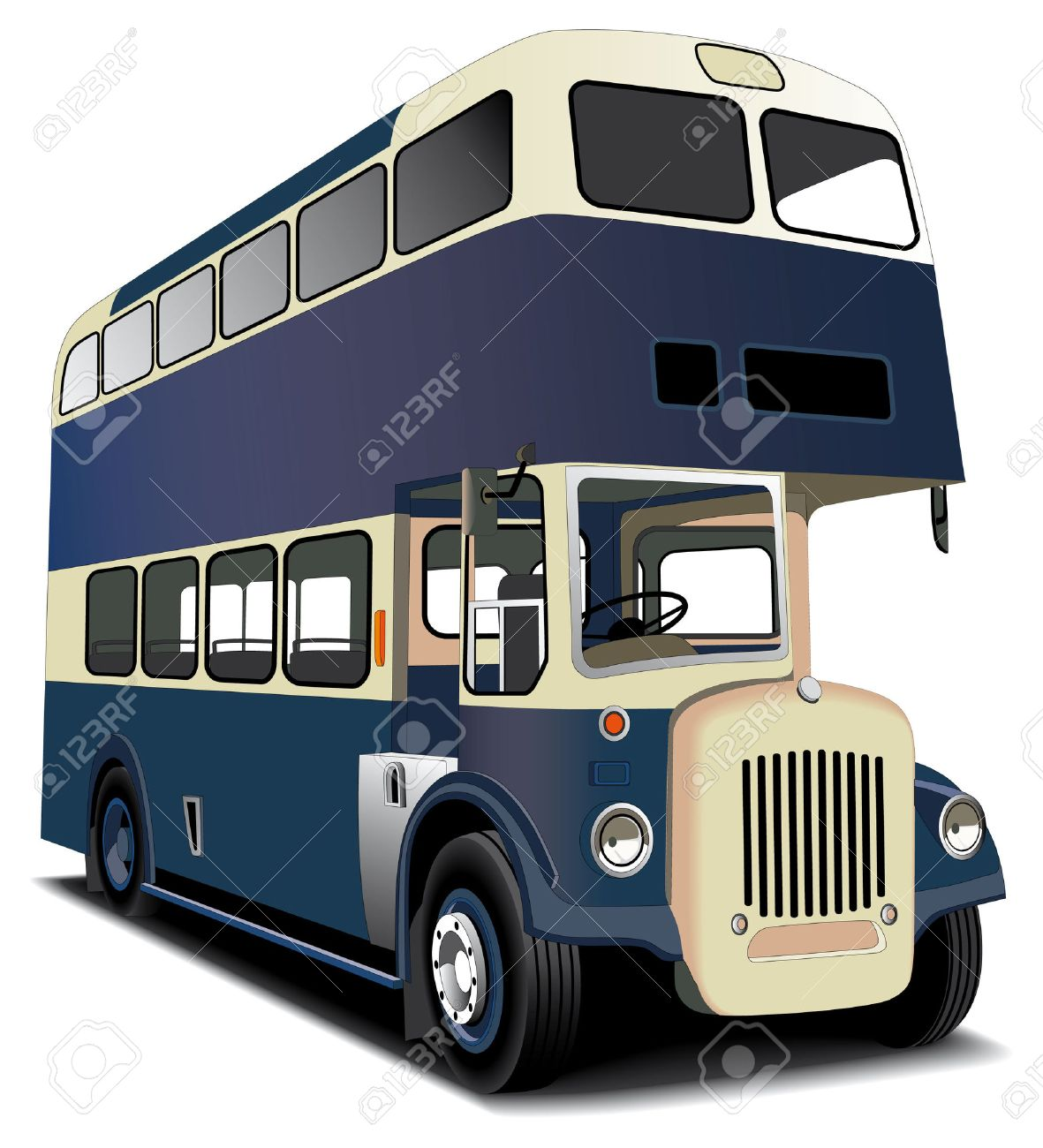 English double decker bus isolated on white. File contains gradients and blends gradient and blends. Stock Vector - 6449111