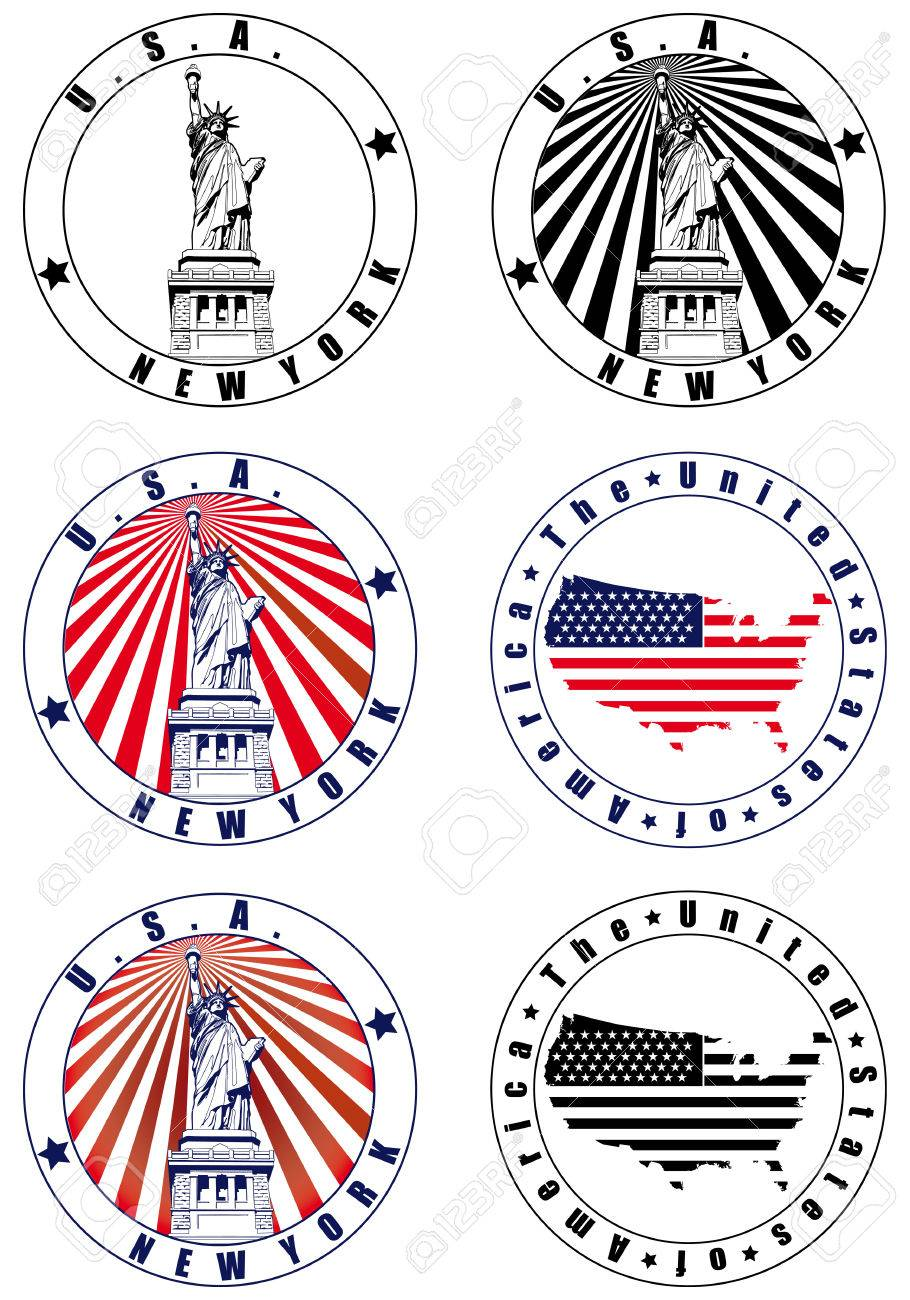 Vectorial set of postal stamp on theme of USA with American simbolism, executed in National color of USA . No blends. Stock Vector - 6449112